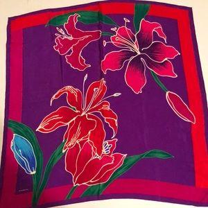 Liz Claiborne Vintage Floral 100% Silk Scarf